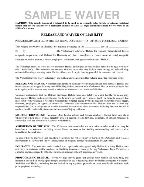 waiver agreement template volunteer release and waiver template