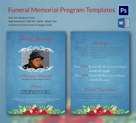 funeral program template 16 word psd document download