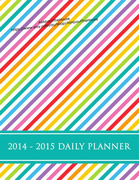 printable daily planner 2015 pdf 2014 2015 daily planner weekly planner printable stripe