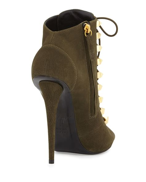 lace high heel booties lyst giuseppe zanotti suede lace up high heel bootie in