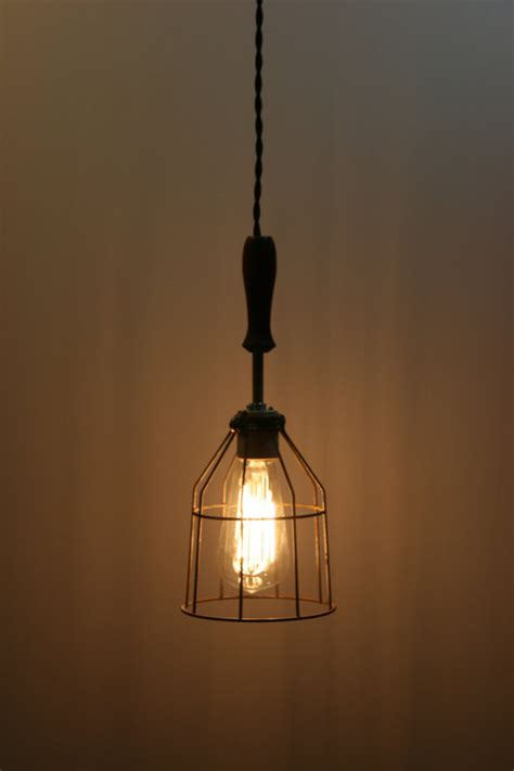 Hanging Pendant Lighting Wood Handle Industrial Hanging Pendant Light With Vintage