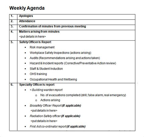 weekly meeting agenda template weekly agenda template 9 free for pdf word