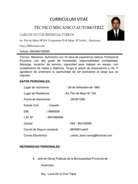 Modelo Curriculum Vitae Tecnico Mecanica Automotriz Curriculum Vitae
