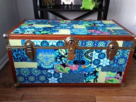 decoupaged trunk with butler fabric decoupage