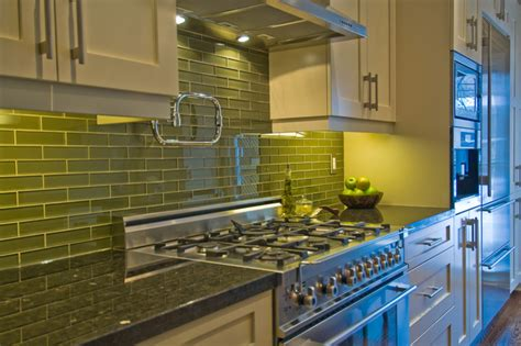 green subway tile backsplash kitchen mediterranean with