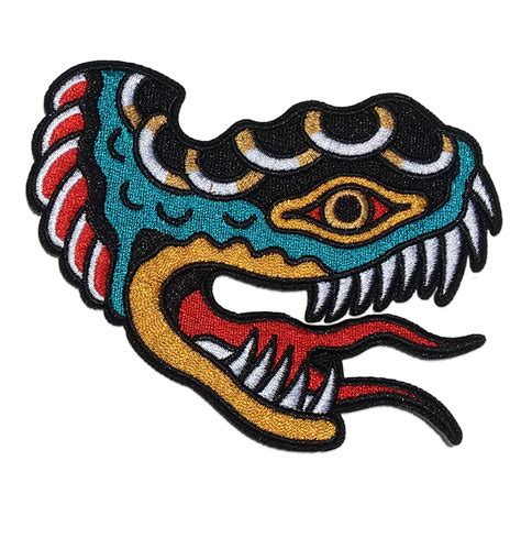 tattoo patches embroidered shon snake patch in traditional style