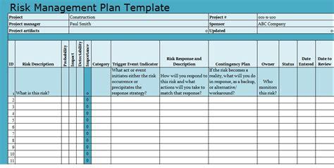 risk management plan template risk management plan template projecttactics