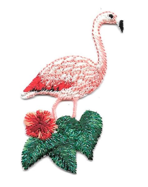 bird flamingo tropical embroidered iron on applique patch