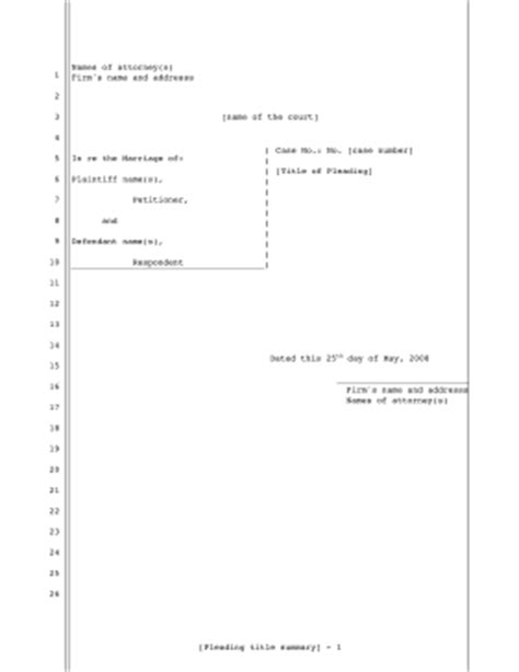 printable pleading template for filing for divorce 26 lines pleading template