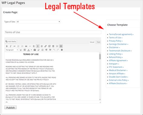 legal templates for pages how to add legal pages to your wordpress site