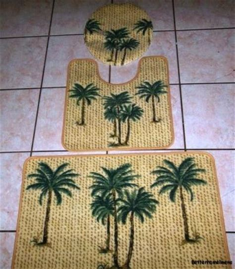 Palm Tree Bathroom Rugs 3pc Tropical Palm Tree Bathroom Rug Set Bath Mat U Shaped Mat Lid Cover New Ebay