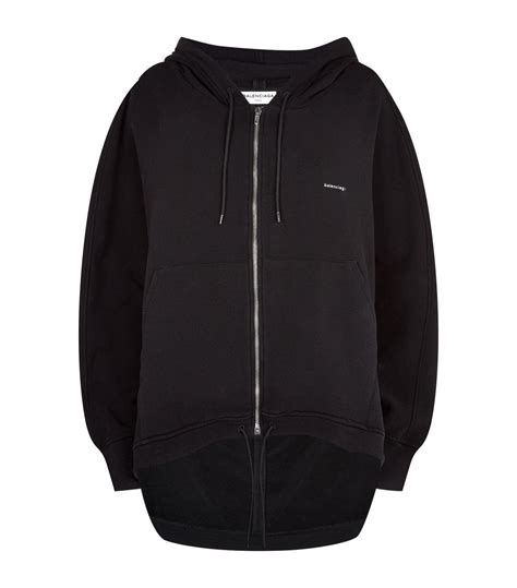 lyst balenciaga zip up hoodie in black