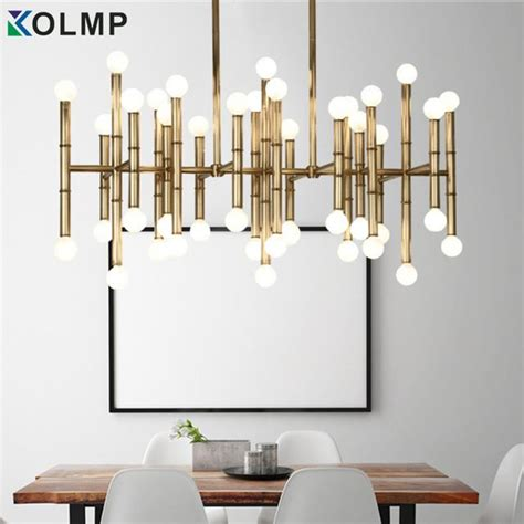 lampara rectangular moderna de bambu droplight color