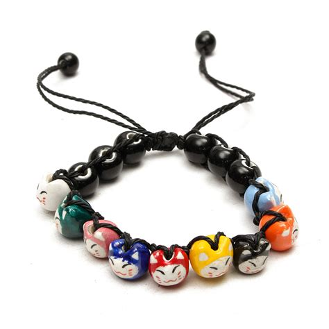 Ceramic Bracelet handmade colorful ceramic cat bracelet jewelry