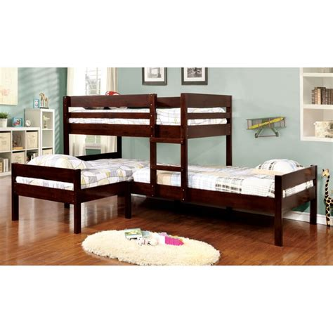 bunk beds set furniture of america tressa espresso corner 3