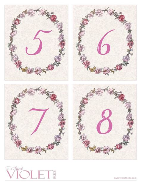printable table numbers 1 20 pink rose wreath table numbers free wedding printable