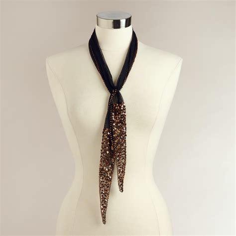 beaded scarf beaded black mesh scarf world market