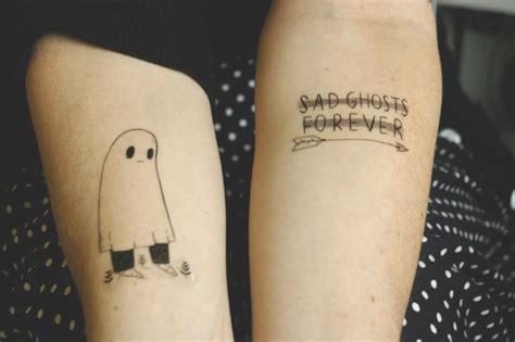 cute ghost tattoo sad ghost pairodicetattoos