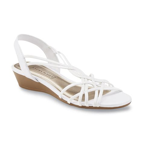 sears sandals womens s springy white slingback wedge sandal