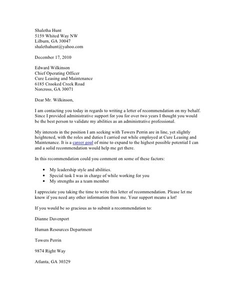 Exle Request Letter Of Recommendation Request For Recommendation Letter