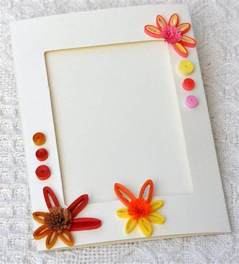 Handmade Paper Photo Frames Designs - paper quilling quilled handmade blank card photo frame
