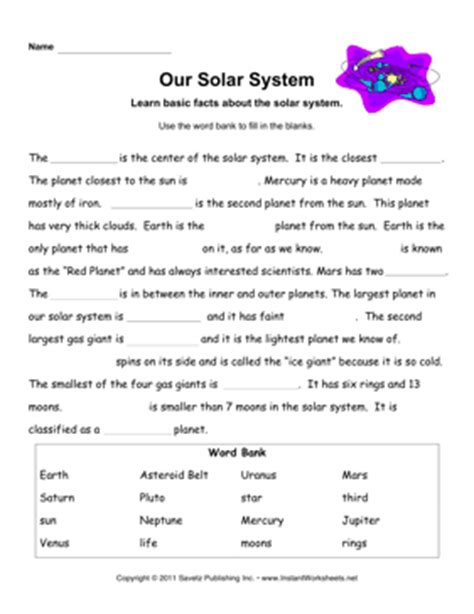 Solar System Worksheet by Solar System Facts