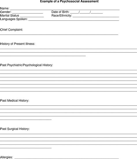 psychosocial assessment form download free premium