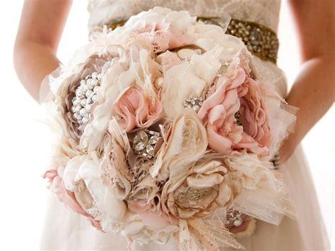 Handmade Wedding Bouquet - fabric flower wedding bouquet brooch bouquet silk style