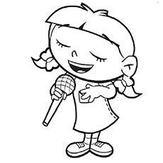 little girl singing coloring page microphone colouring clipart best
