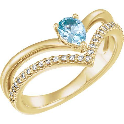 split band pear aquamarine engagement rings 6x4mm