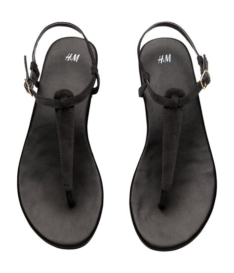h and m sandals lyst h m toe post sandals in black