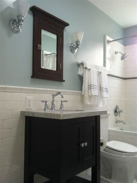 bathroom with blue walls 1000 ideas about white subway tile bathroom on pinterest