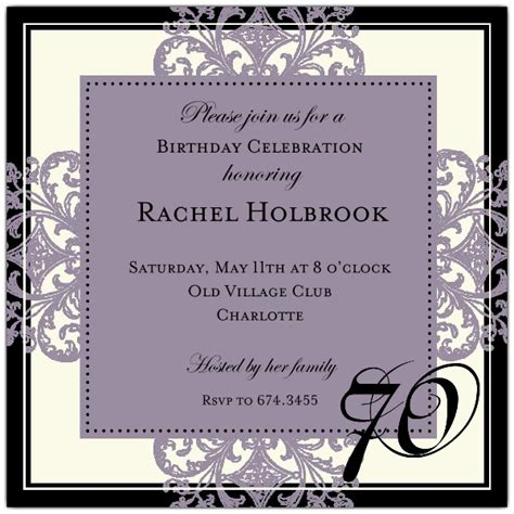 wording 70th birthday invitations decorative square border eggplant 70th birthday