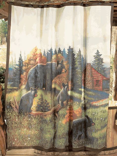 black bear curtains black bear lodge shower curtain