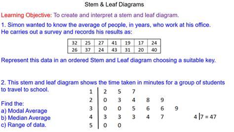 stem and leaf diagram gcse stem leaf diagrams