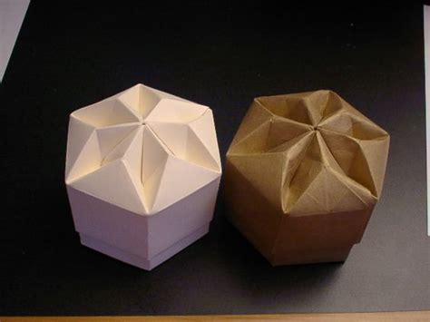 Folded Paper Boxes - origami box hexagon wrapping and folding