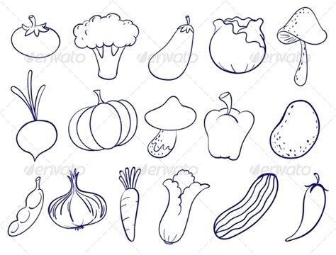 printable templates of vegetables stock vector graphicriver fruit and veg doodles 8033084