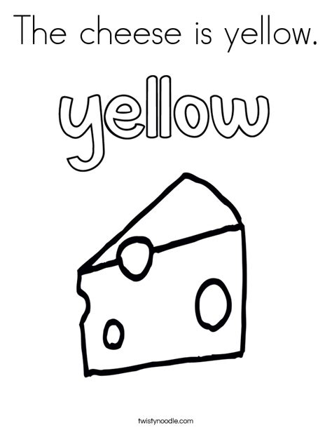 coloring page for yellow the cheese is yellow coloring page twisty noodle
