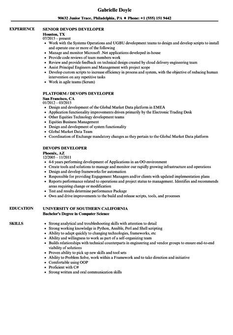 Devops Developer Resume Sles Velvet Jobs Devops Resume Template