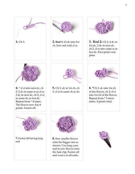 free patterns and instruction on making flower hair clips crochet hair clip pattern step by step yarn twist