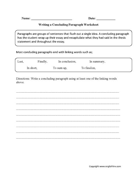 Writing An Essay Worksheet by Paragraph Writing Worksheets Writing Concluding Paragraph Worksheets