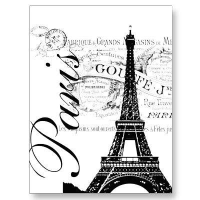 imagenes blanco y negro torre ifel vintage par 237 s y etiqueta de la torre eiffel tarjeta postal