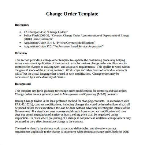 Contract Variation Letter Template Sle Change Order 11 Documents In Pdf Word