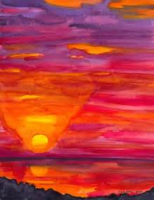 water color sunset sunset from platanillo painting print kate york