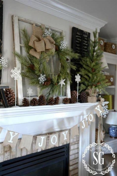 farmhouse christmas mantel pine evergreen  snow flake