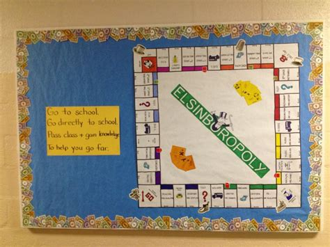 themes of monopoly board games back to school monopoly themed bulletin board i made it