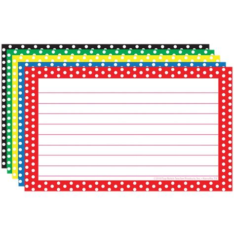 lined note cards template border index cards 3x5 polka dot lined top3667 top