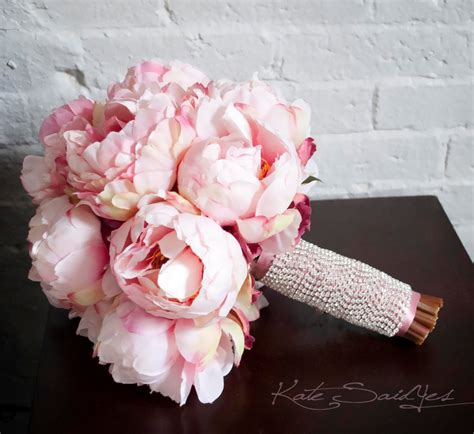 peonies bouquet blush pink peony bouquet with rhinestone handle peony