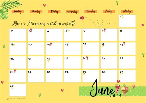 printable colorful calendar  colorful zone