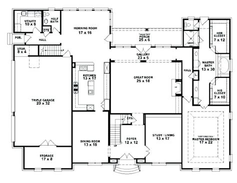 five bedroom ranch house plans 5 4 bath floor 4 bedroom